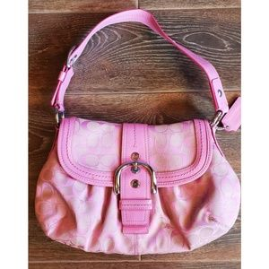 Coach Pink Purse with Front Buckle